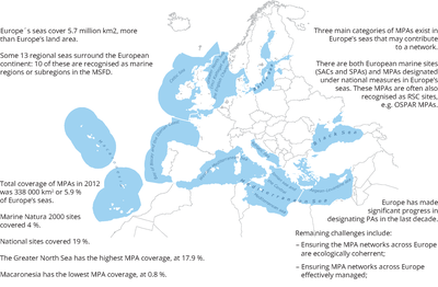 Europe's regional seas, and fast facts on EU MPA networks