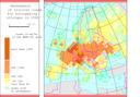 Exceedance of critical loads for eutrophying nitrogen in 1996