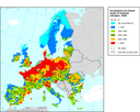 Exceedance of the critical loads for eutrophication in Europe (as average accumulated exceedances), 2004
