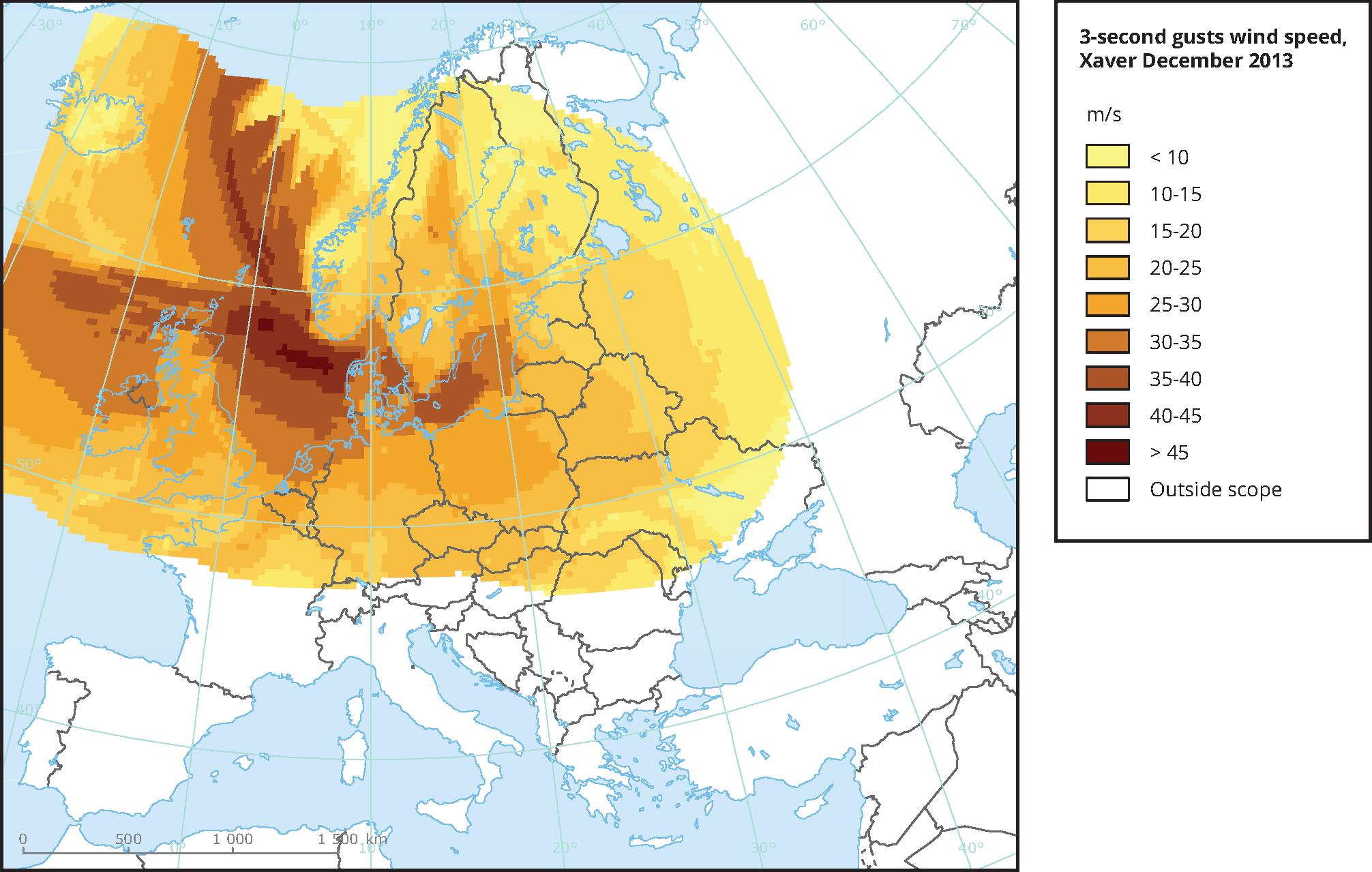 Footprint of storm Xaver in December 2013 — European