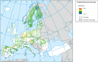 Forest harvesting intensity in Europe