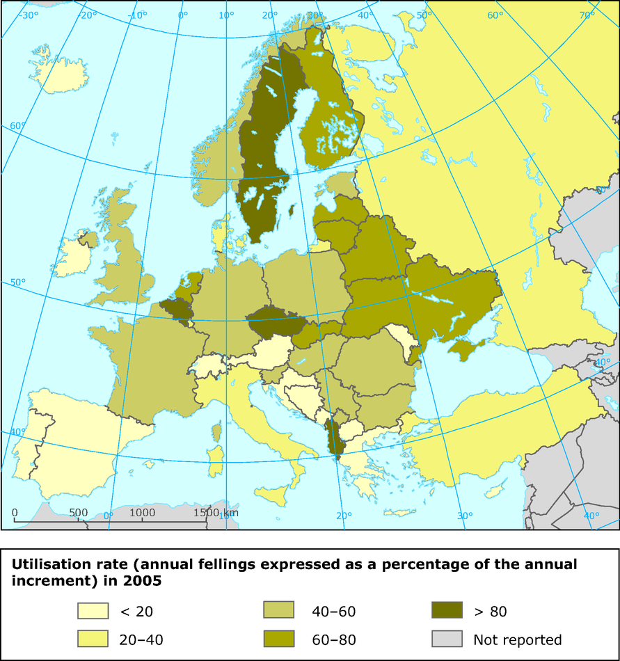 Forest utilisation rate in 2005 (annual increment in growing stock as a percentage of annual felling) for countries in the Ministerial Conference on the Protection of Forests in Europe (MCPFE)