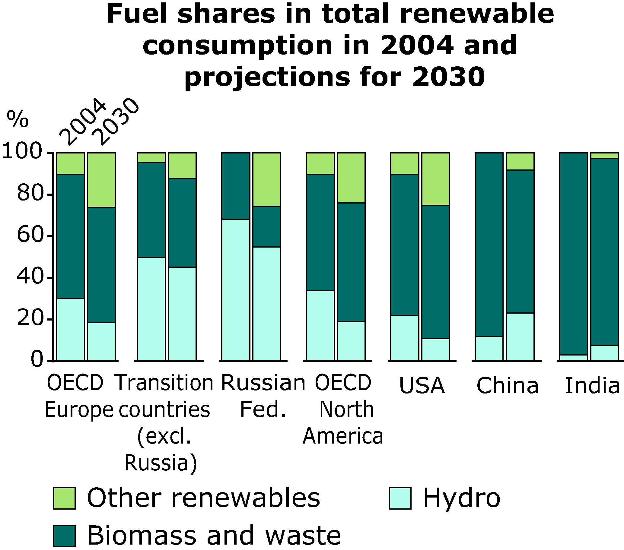 Fuel shares in total renewable consumption in 2004 and projections for 2030
