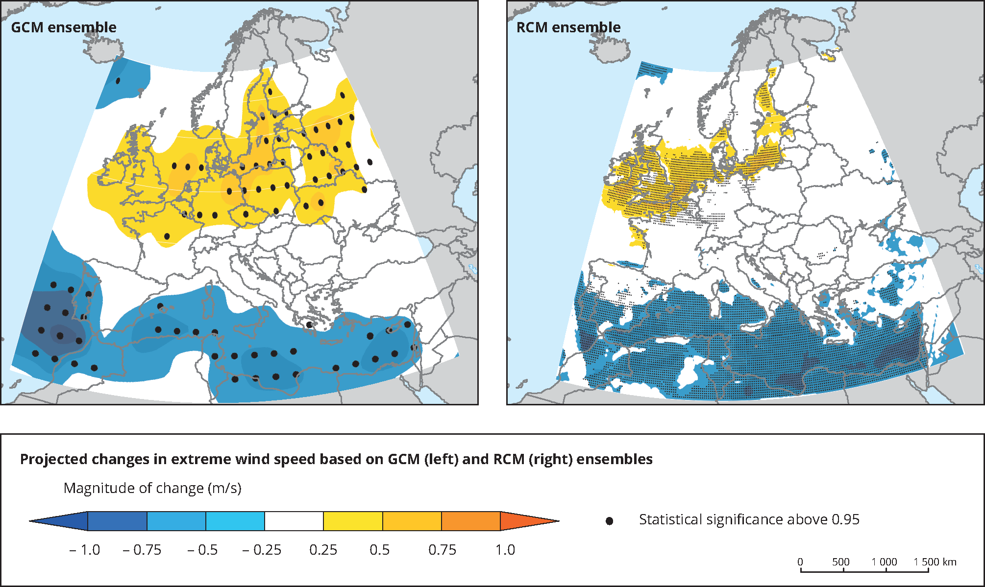 Projected changes in extreme wind speed based on GCM and RCM ensembles