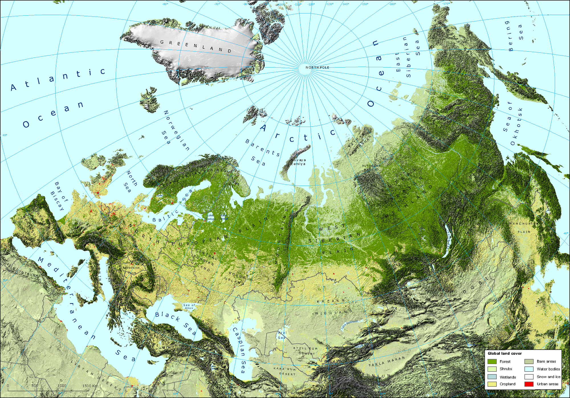 Image of: Physical Map Eps European Environment Agency