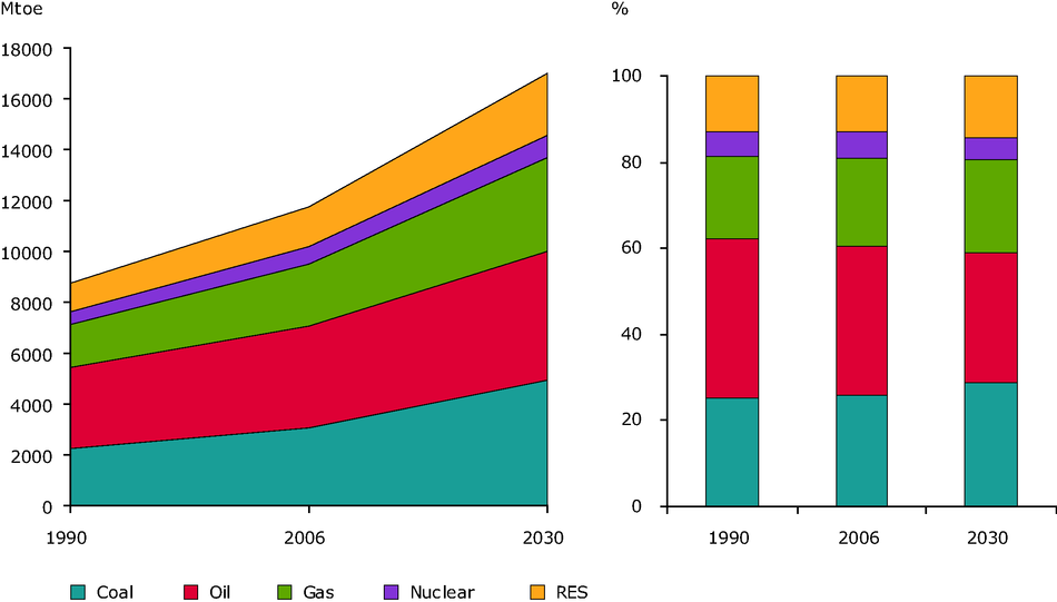 Global Total Primary Energy Consumption by fuel