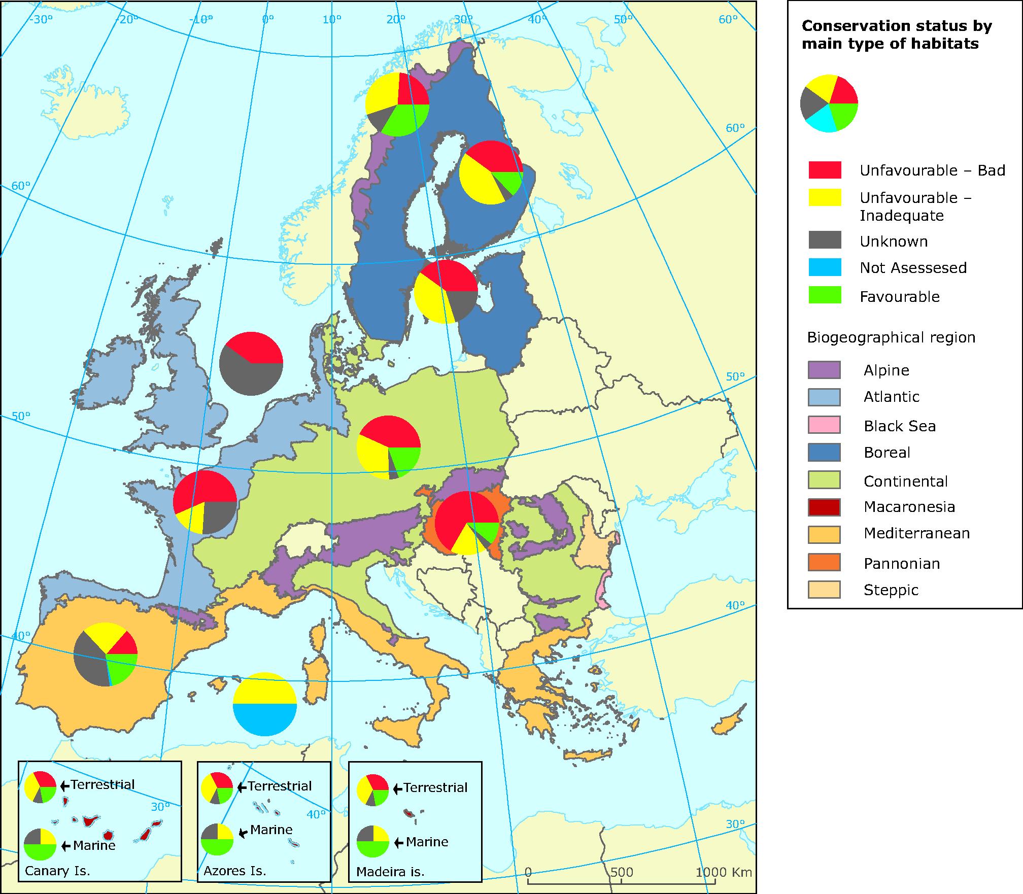 Habitats of European interest — conservation status by biogeographical region