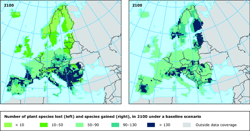 Impact of climate change on number of plant species, 2100