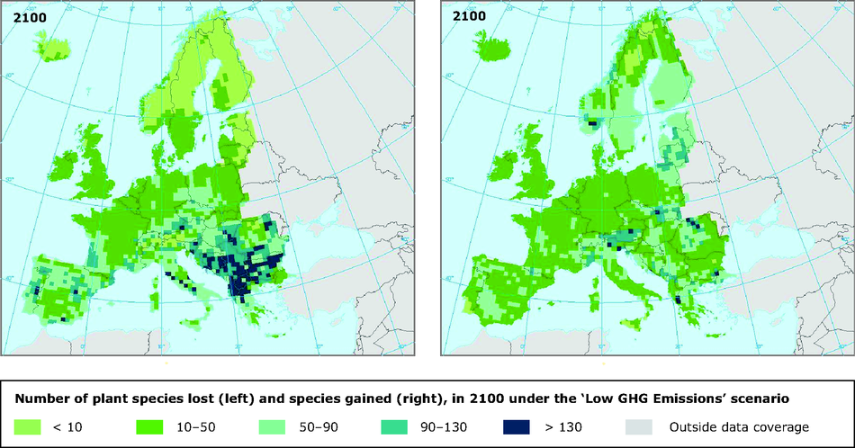 Impact of climate change on number of plant species (in 2100 under the 'Low GHG emissions' scenario)