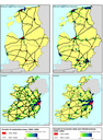 Intensity of urban sprawl 2000–2006 in Estonia, Latvia and Lithuania (above) and Ireland (below)