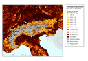 Landscape fragmentation per 1 km² grid in the region around the Alps in 2009