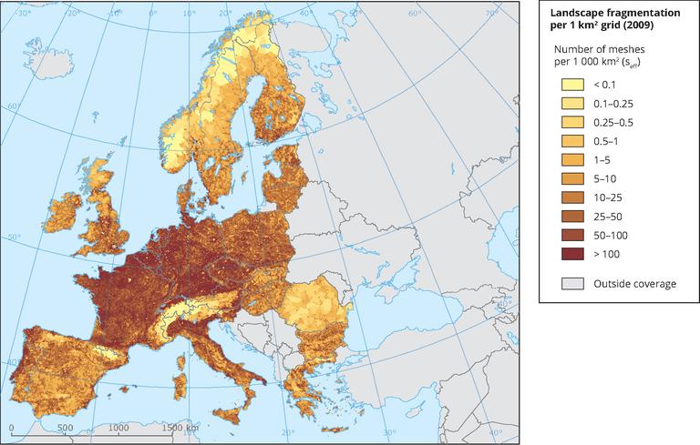 Landscape fragmentation per 1 km² grid — European Environment Agency