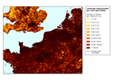 Landscape fragmentation per 1 km² grid in the Channel region in 2009