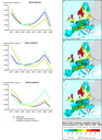 Left panels: observed and modelled PM10 concentrations. Right panels: ratio of the maximum modelled yearly concentrations for 2002-2003 to 1997-2001