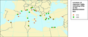 Location of reported HABs including STBs (in red) in the Mediterranean Sea.