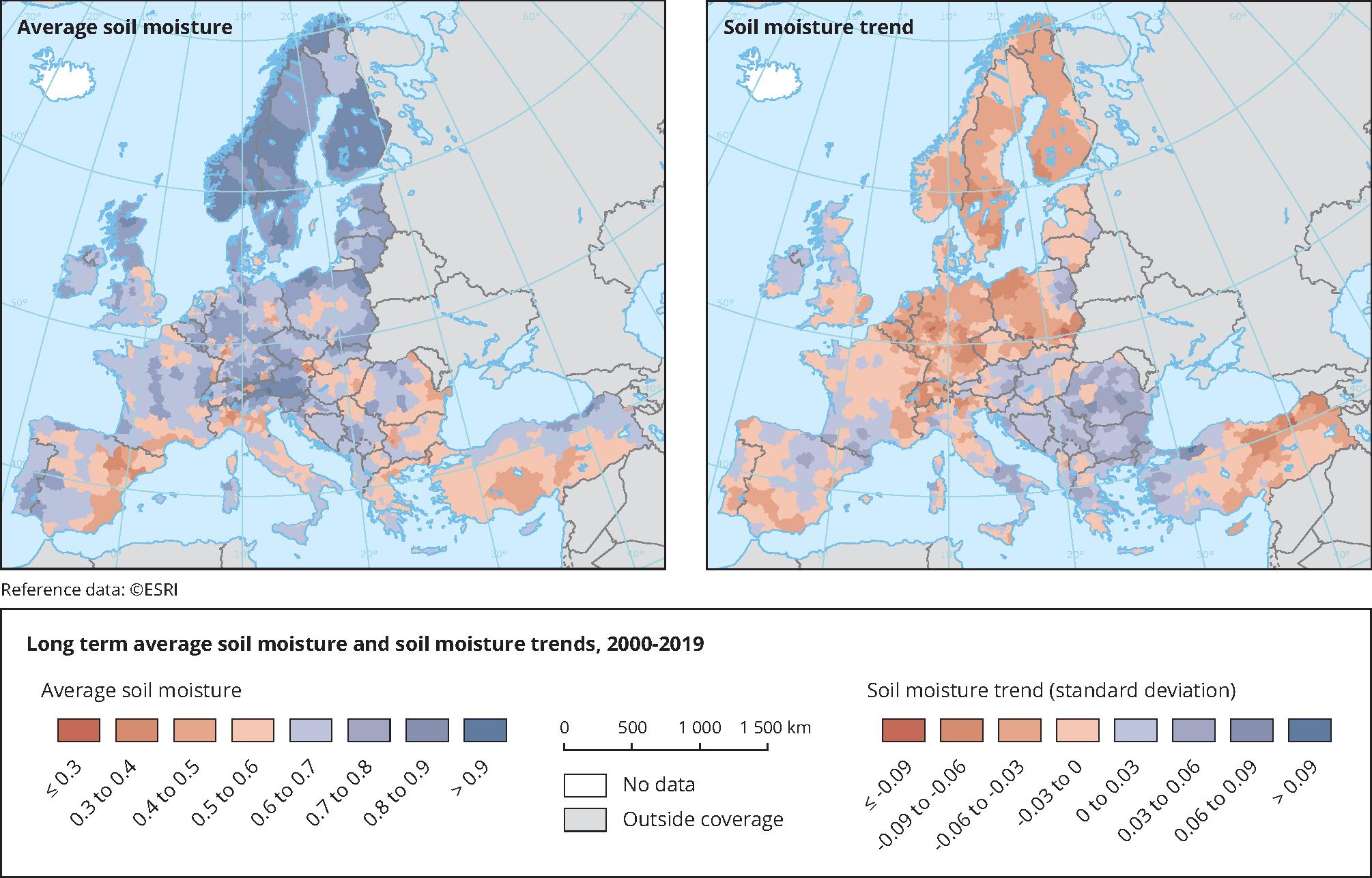 Long term average soil moisture and soil moisture trends, 2000-2019