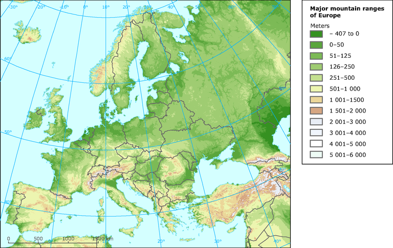 mountain map of europe Major mountain ranges of Europe — European Environment Agency