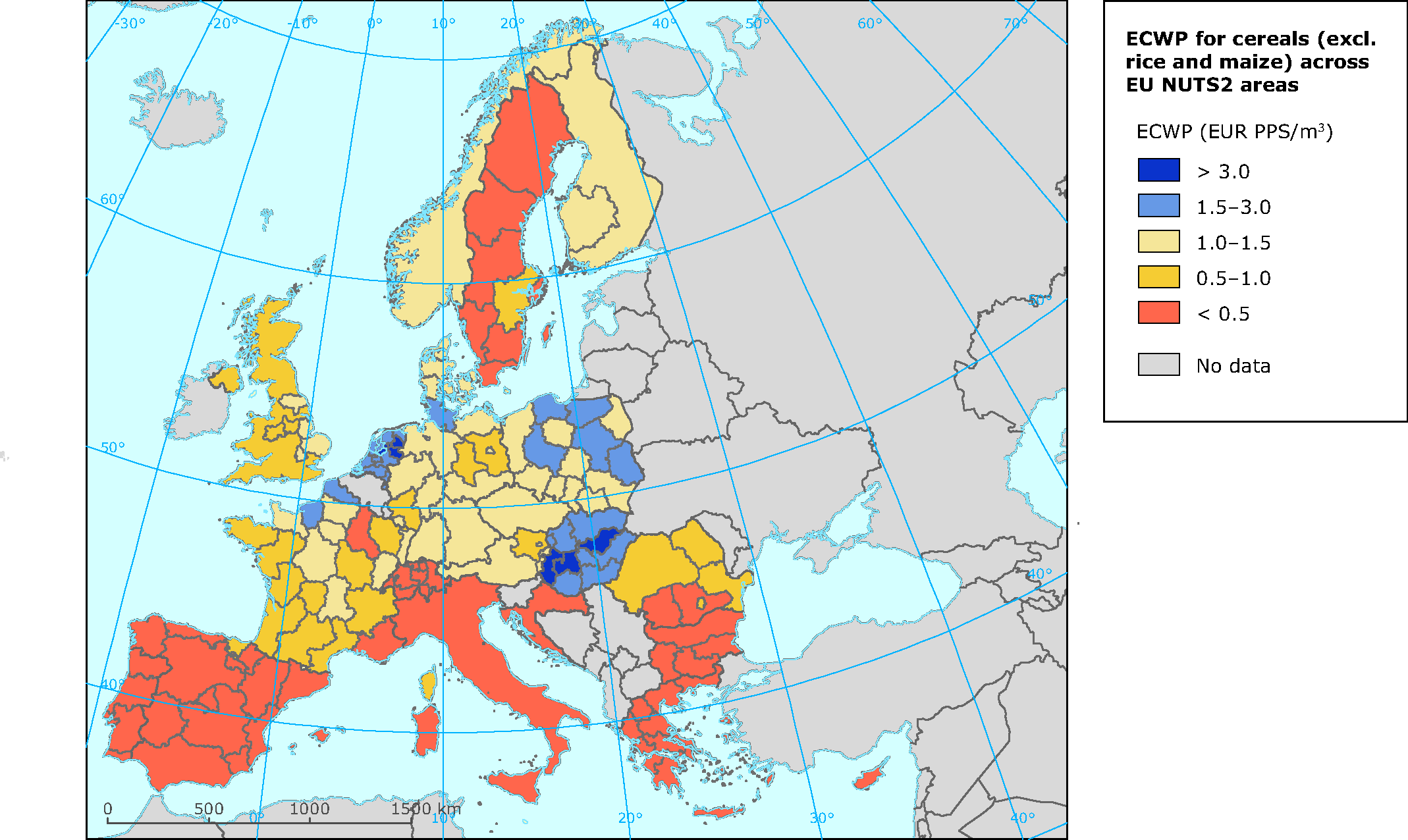ECWP (in € PPS/m3) for cereals  (excl. maize and rice) across EU NUTS2 areas