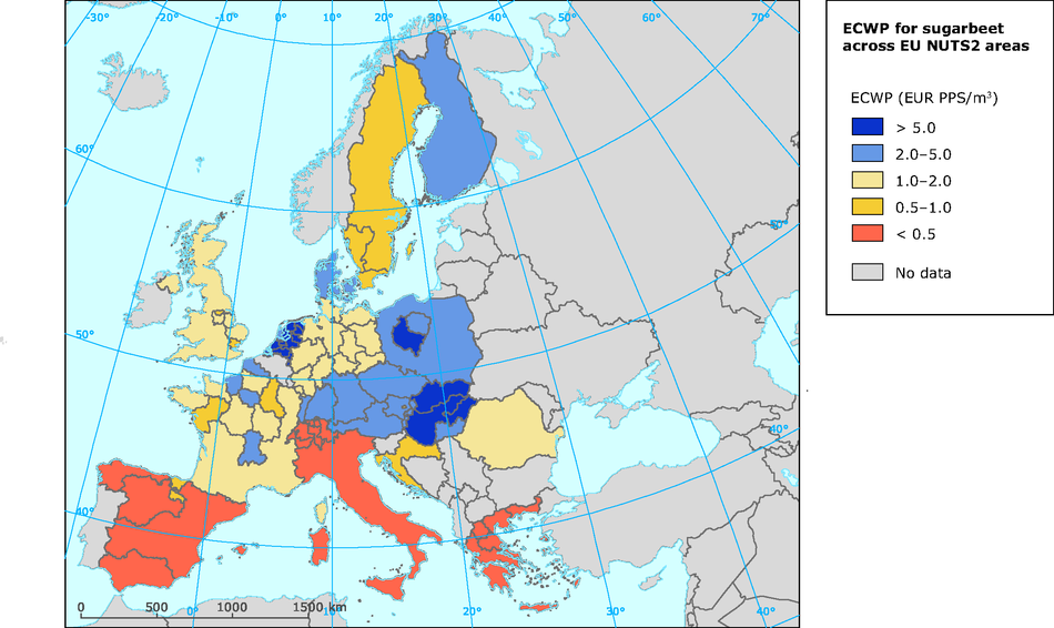 ECWP (in € PPS/m3) sugarbeet across EU NUTS2 areas