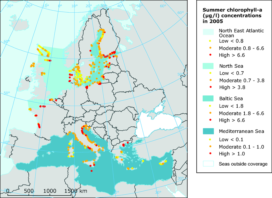 Map of summer chlorophyll-a concentrations observed in 2005