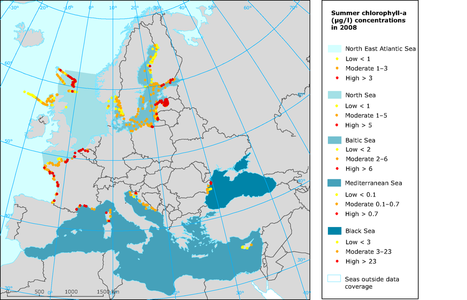 Chlorophyll-a concentrations in European seas, 2008