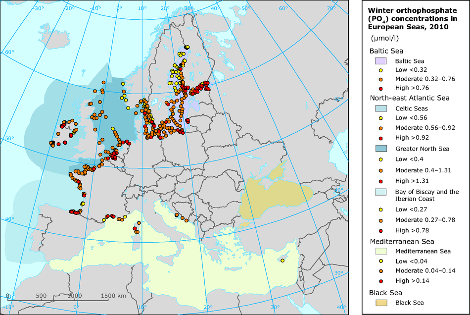 Winter orthophosphate concentrations in European seas in 2010