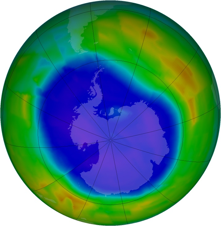 Maximum ozone hole area in 2011