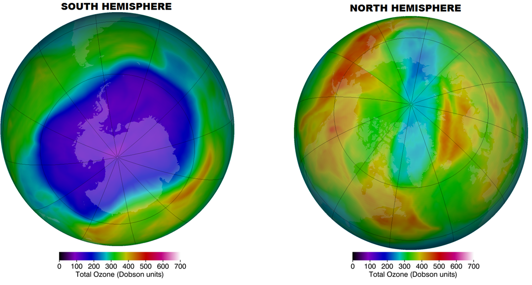 Maximum historical depletion over the south hemisphere (24 September 2006) and over the North hemisphere (15 March 2011)