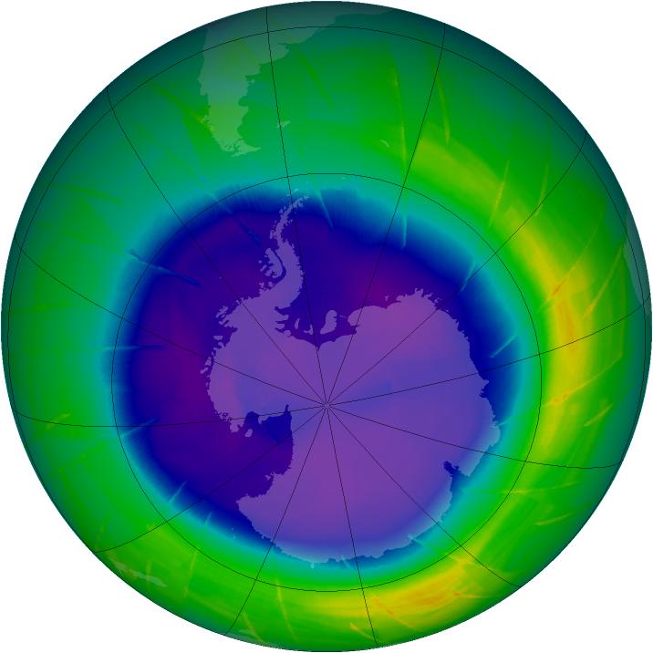 Maximum ozone-hole area in 2009
