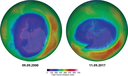 Maximum ozone hole area over the southern hemisphere, historically (9 September 2000) and currently (11 September 2017)
