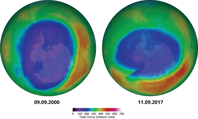 Maximum ozone hole area over the Antarctic, past (2000) and present (2017)