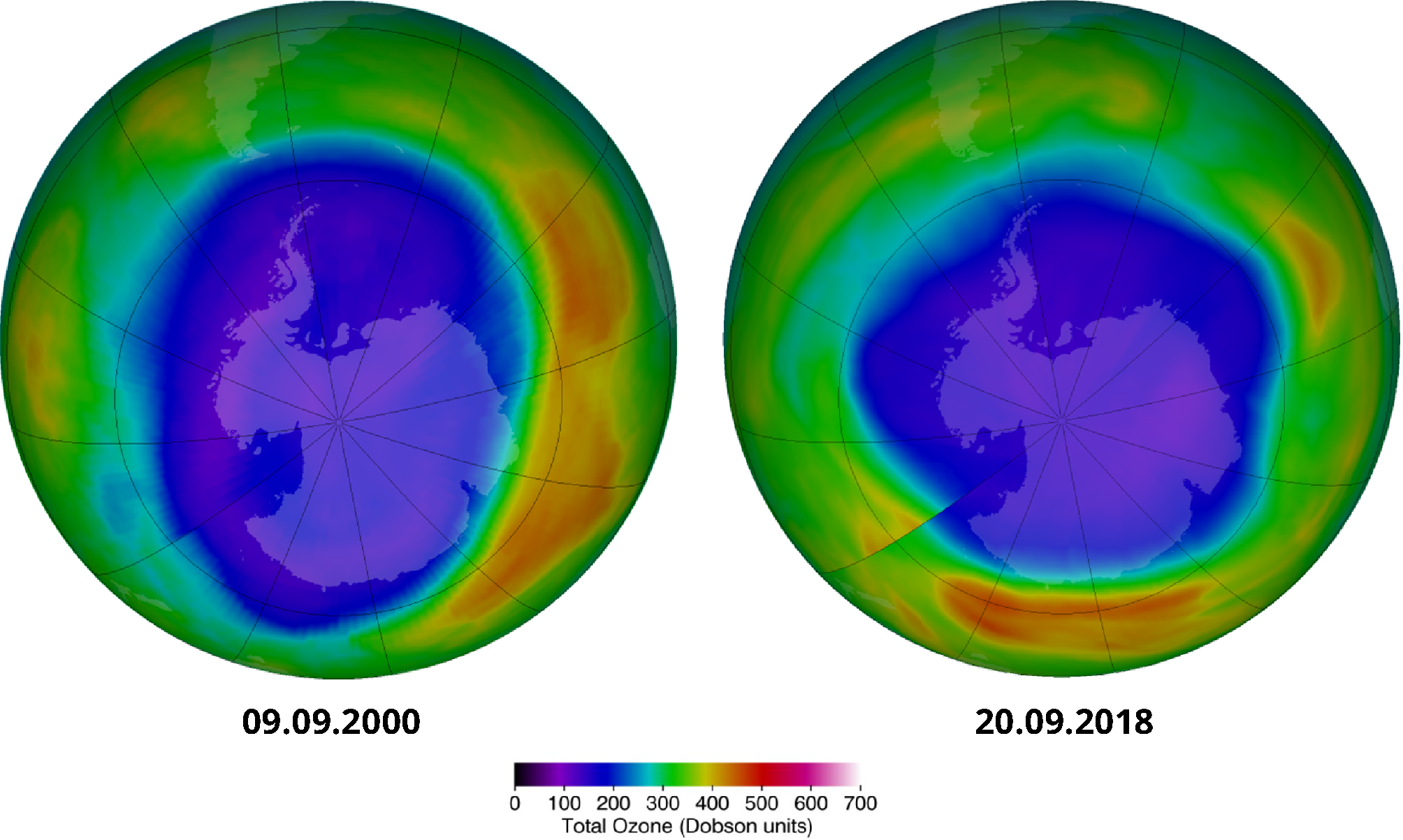 Maximum ozone hole area over the southern hemisphere, historically (9 September 2000) and currently (20 September 2018)