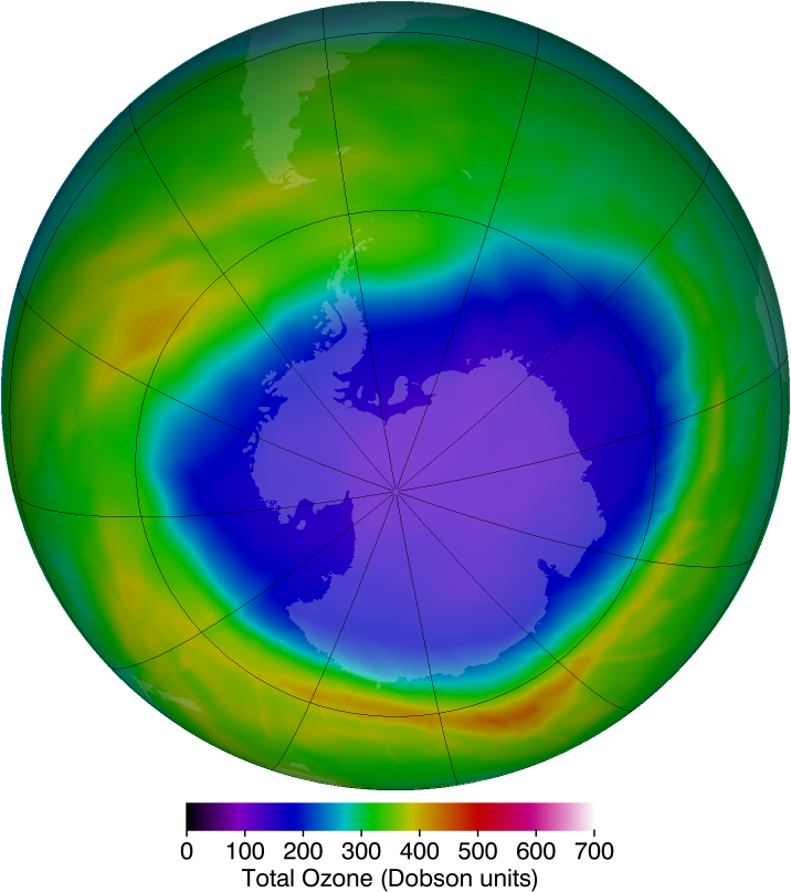Maximum ozone hole area in 2010