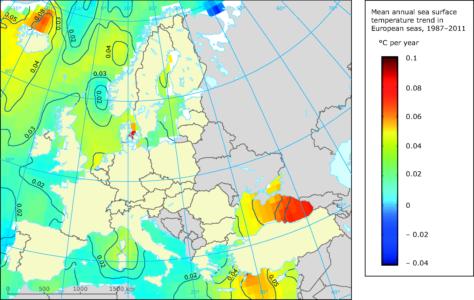 Mean annual sea surface temperature trend in European seas