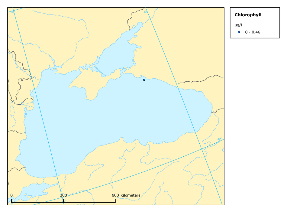 Mean summer surface concentrations of chlorophyll a in the Black Sea, 2003