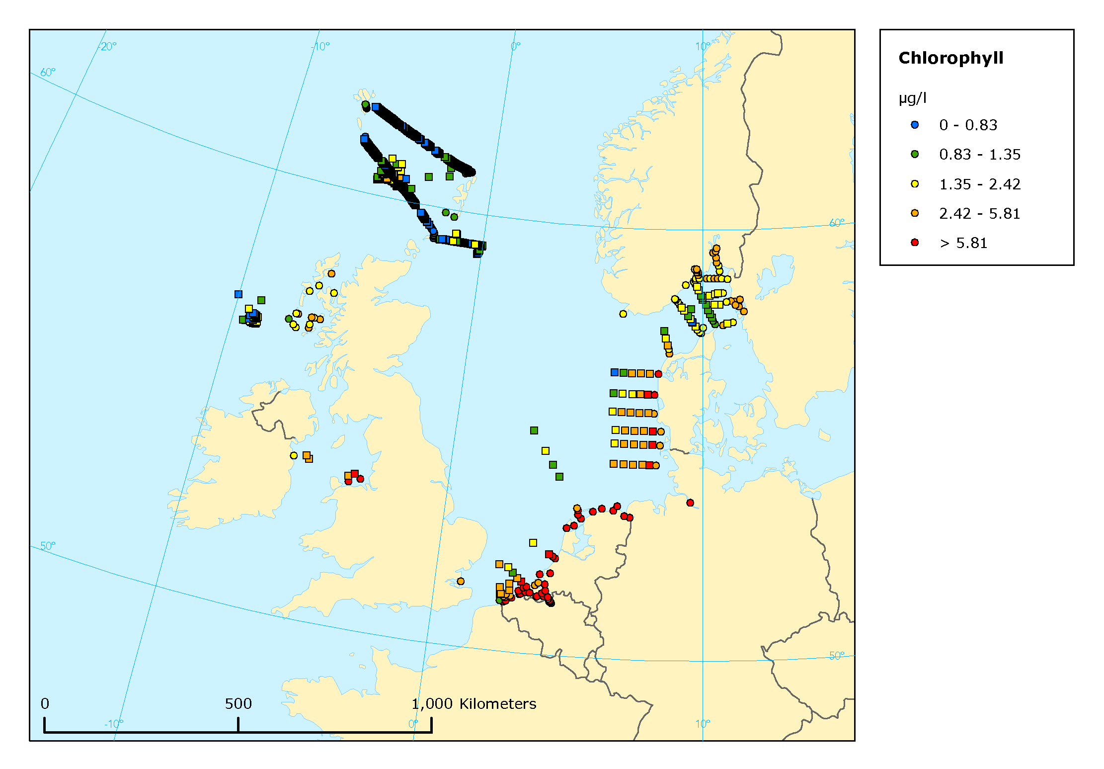 Mean summer surface concentrations of chlorophyll a in the Greater North Sea, the Irish Sea and the north-east Atlantic, 2003