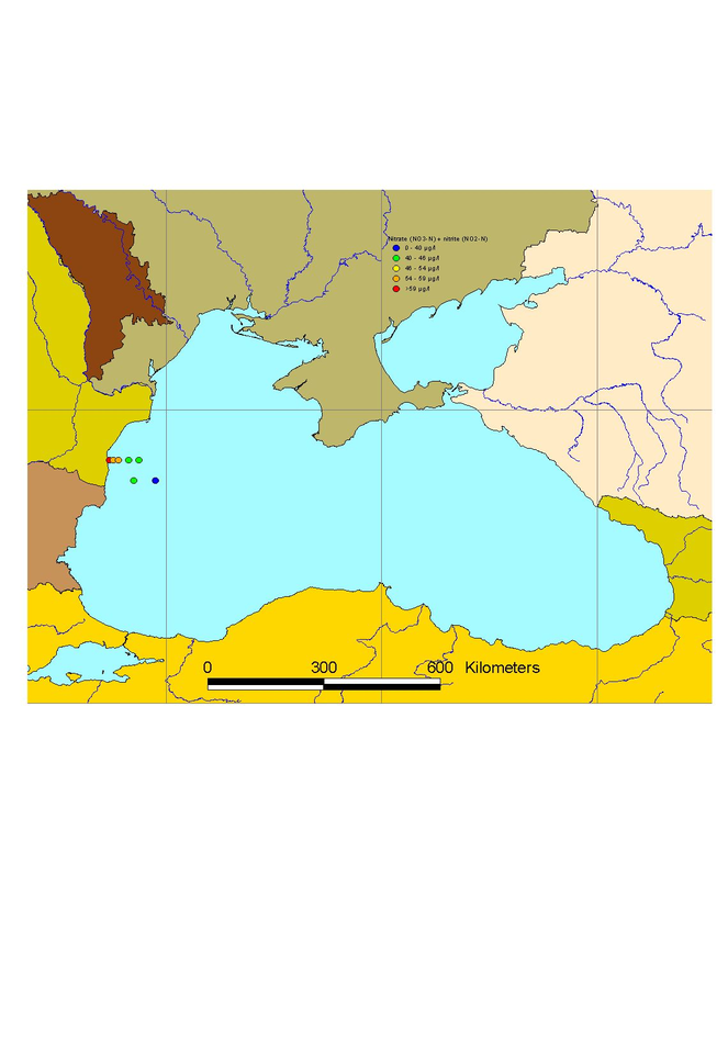 Mean winter surface concentrations of nitrate+nitrite in the Black Sea, 2003
