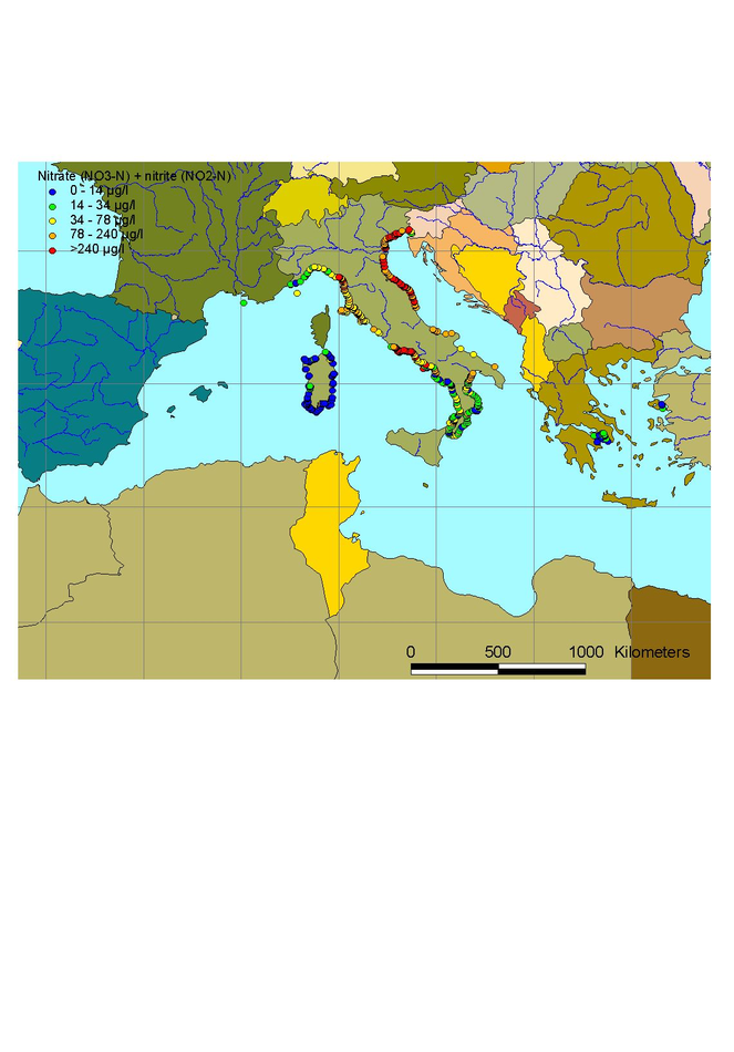 Mean winter surface concentrations of nitrate+nitrite in the Mediterranean Sea, 2003