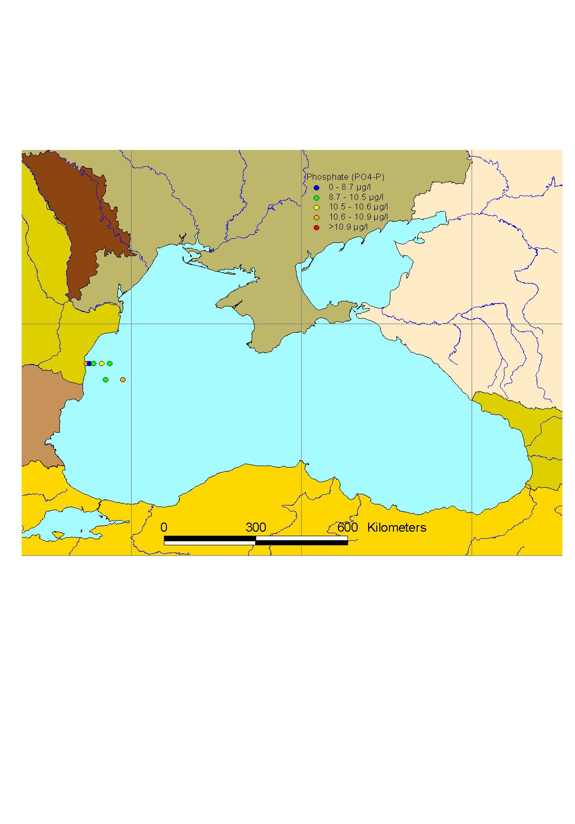 Mean winter surface concentrations of phosphate in the Black Sea, 2003