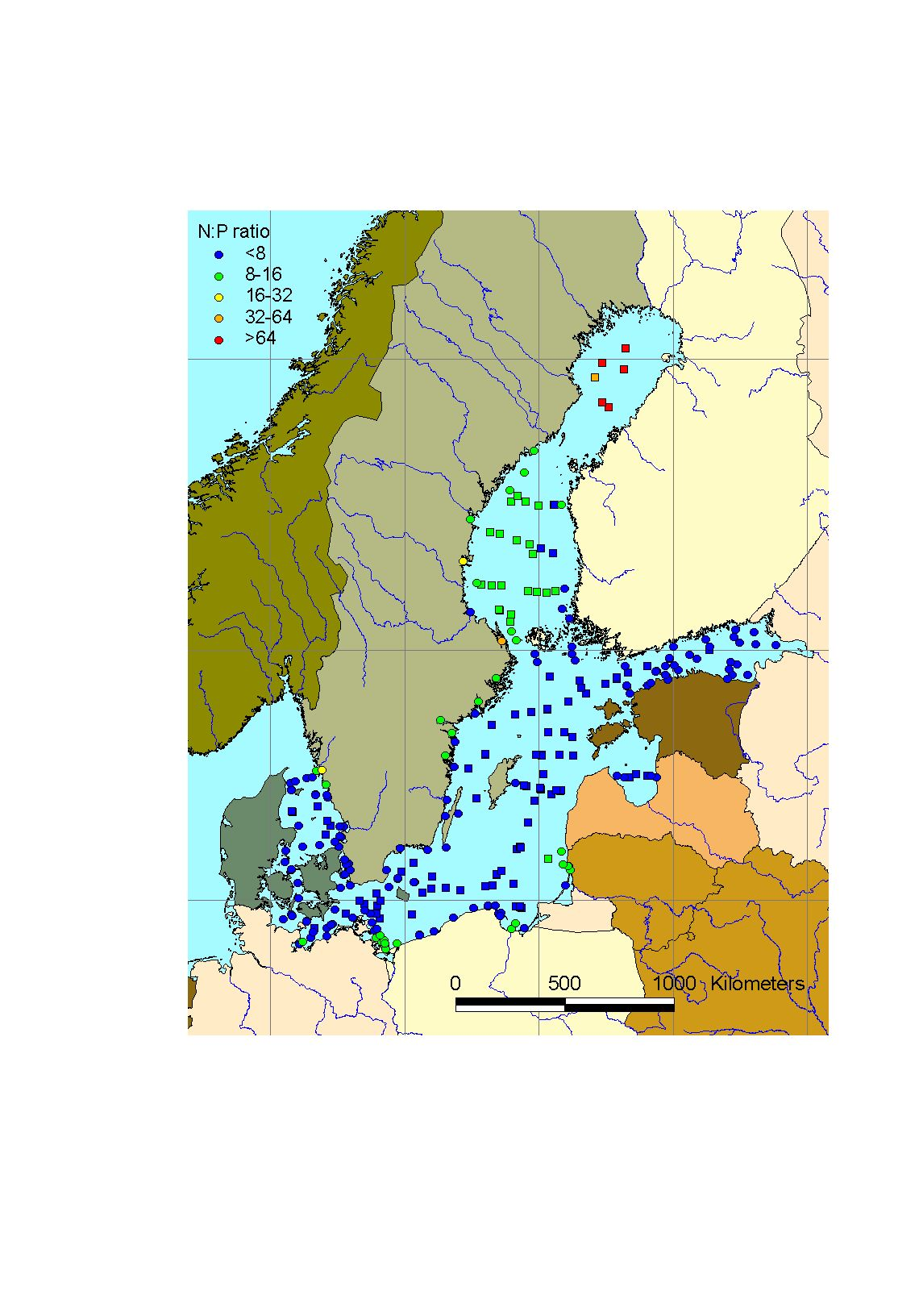 Mean winter surface nitrate/phosphate-ratio in the Baltic Sea Area, 2003