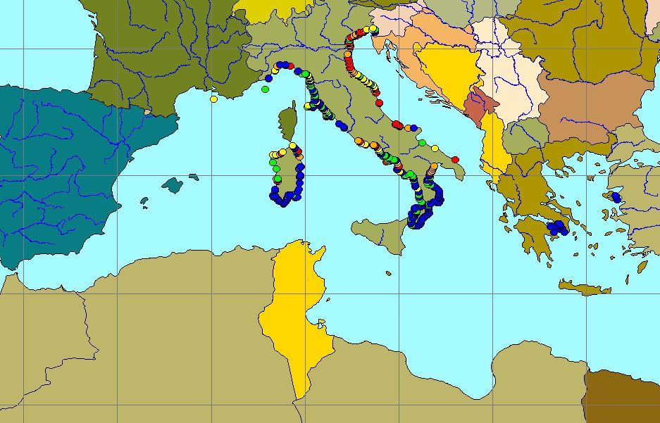 Mean winter surface nitrate/phosphate-ratio in the Mediterranean Sea, 2003