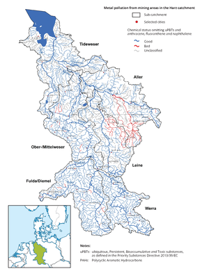 Metal pollution in the Weser catchment from mining areas in the Harz Mountains