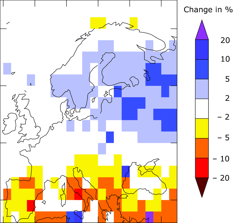 Modelled change in annual river flow between 1971-1998 and 1900-1970
