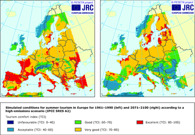 Modelled conditions for summer tourism in Europe for 1961–1990 and 2071–2100