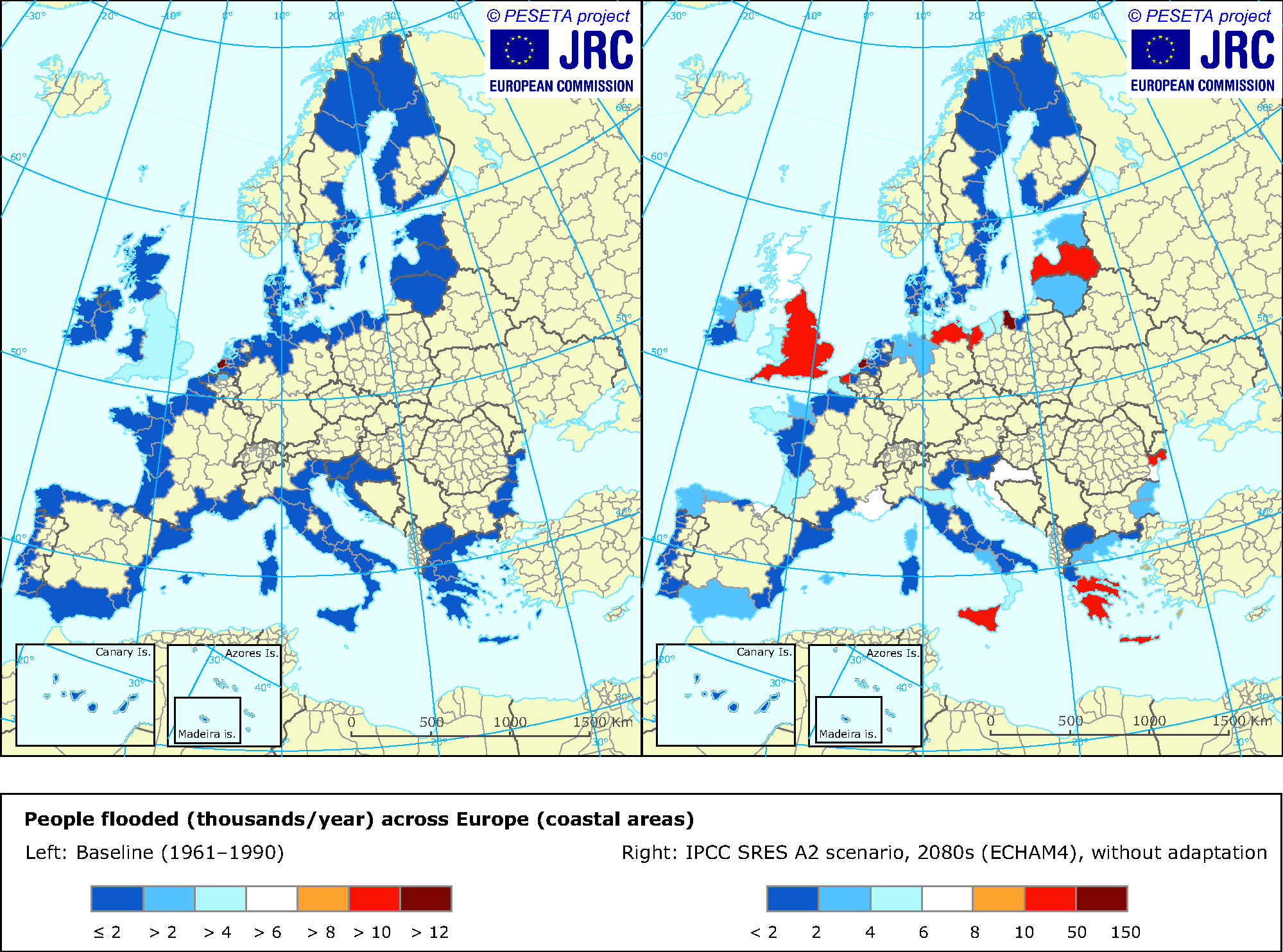 Modelled number of people flooded across Europe's coastal areas in 1961-1990 and in the 2080s