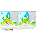 Modelled ozone concentrations expressed as SOMO35 for the year 2000 (left) and 2010 (right) for the CAFE baseline scenario