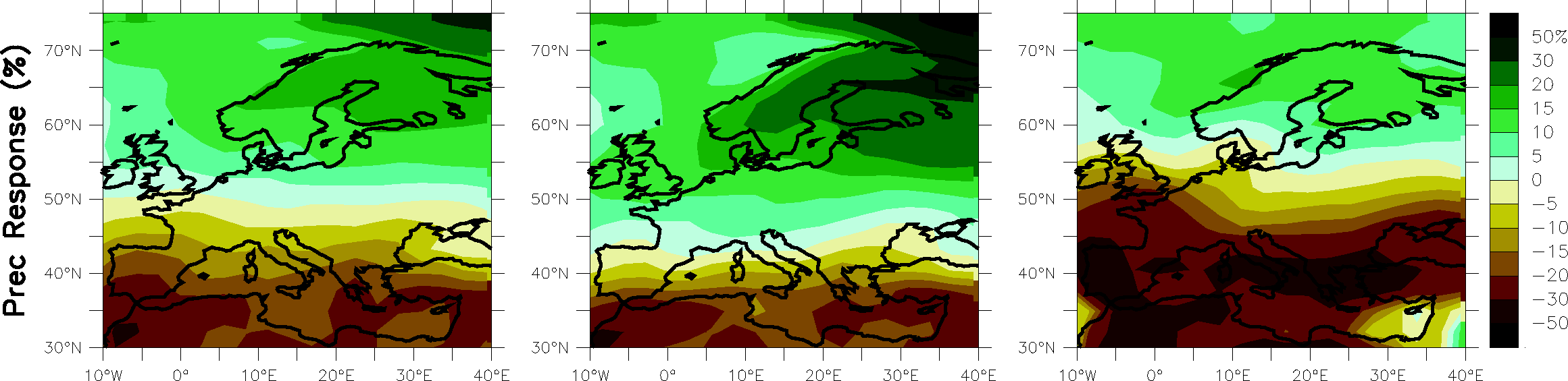 Modelled precipitation change between 1980-1999 and 2080-2099
