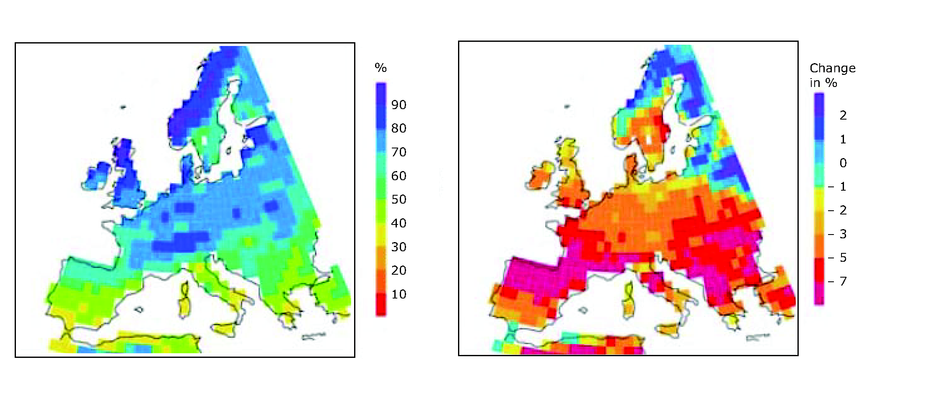 Modelled summer soil moisture (1961-1990) and projected changes (2071-2100) over Europe