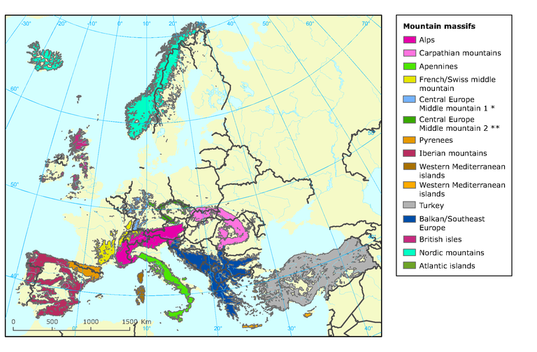 Mountain massifs — European Environment Agency