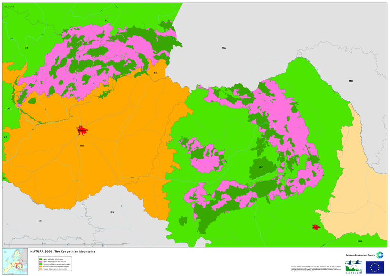 Carpathian Mountains Map on